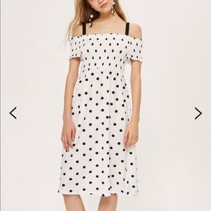 Topshop Shirred Strappy Midi Dress